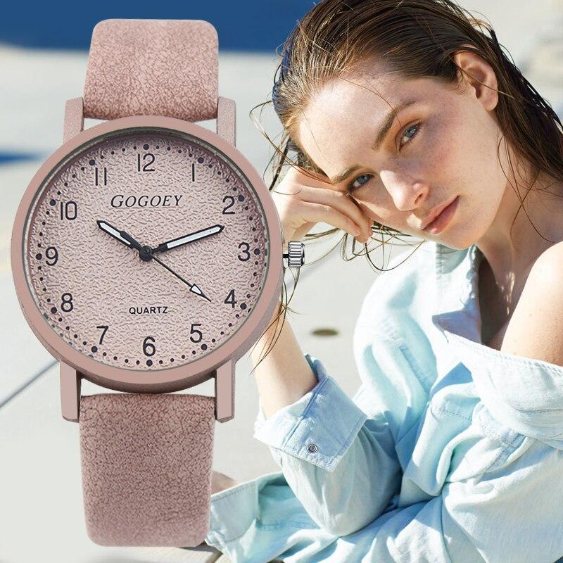 Gogoey las mujeres marca de relojes de moda reloj de cuero de las mujeres relojes de señoras reloj bayan kol saati reloj mujer zegarek damski