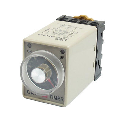AH3-3 DC24V/DC12V/AC110V/AC220V Power On 0-6Min 6 Minutes Delay Timer Time Relay w Base 3s ah3 3 power on delay timer time relay 36vac plastic housing 8 pin