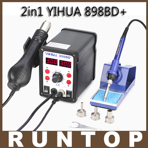 ФОТО HOT YIHUA 898BD+ 2in1 SMD Electric Soldering Iron and Heat Hot air Gun Rework Solder Welding Station