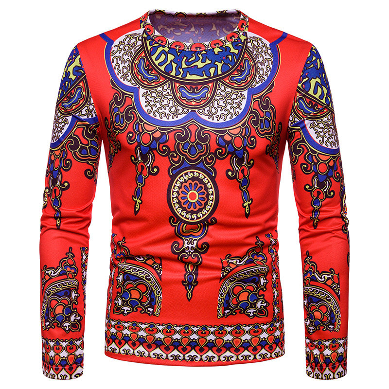 Autumn Vintage Folk Style Men's T-Shirts Long Sleeve Casual Tee Hiphop Shirts Cotton Tops Slim Fit Muscle Shirt African Clothes
