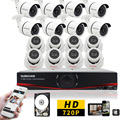 SUNCHAN Home HD 1200TVL 1080N 16CH AHD DVR KIT Home Security Video Surveillance Kit 1.0MP Outdoor IR Bullet Dome Cameras 1TB HDD