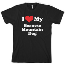 I Love My Bernese Mountain Dog - Mens T-Shirt - 10 Colours - Dog - CaninePrint T Shirt Mens Short Sleeve HotMans Unique Cotton цена и фото