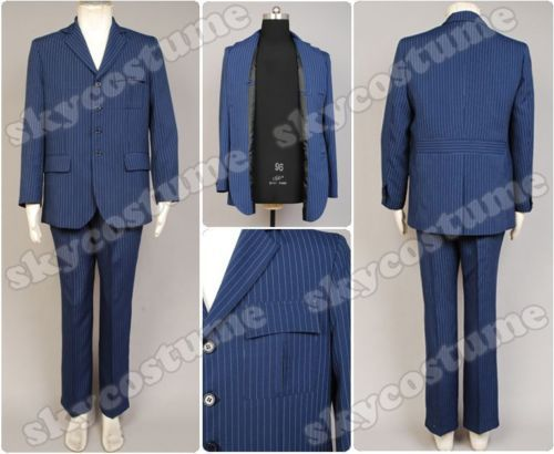 Doctor Dr Who Blue Pinstripe Business Suit Blazer font b Jacket b font Pants Halloween Cosplay
