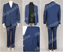 Doctor Dr.Who Blue Pinstripe Business Suit Blazer Jacket Pants Halloween Cosplay Costume Outfit For Men