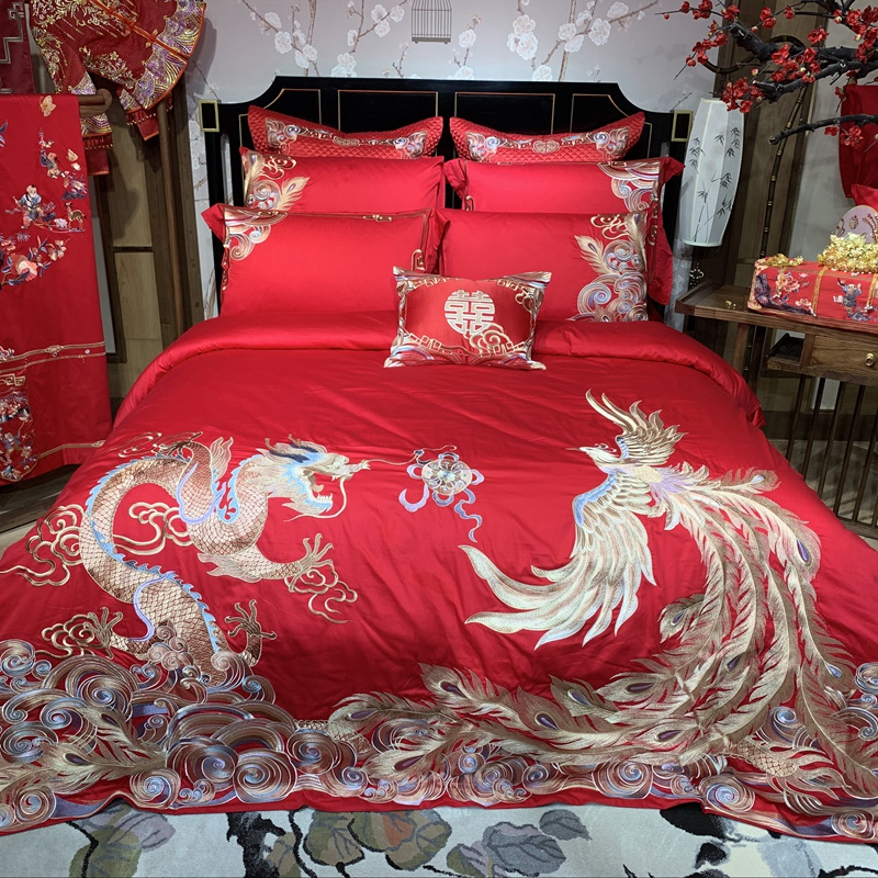 Luxury Gold Loong Phoenix Embroidery Egyptian cotton Red Wedding Bedding Set Duvet Cover Bed sheet/Linen Bedspread Pillowcases