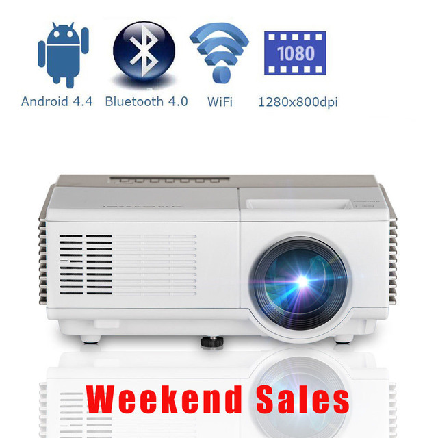 CAIWEI Portable Android WiFi Home Theater LED Projector Bluetooth Wireless HD Video for PC TV Smartphone Miracast Airplay