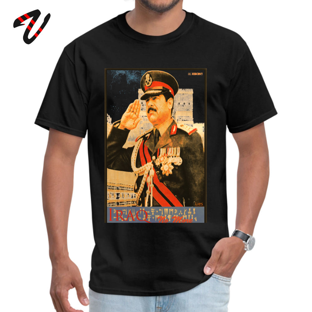 On Sale Saddam Propaganda Printed T Shirt Crewneck Urban Mens Tops Shirts Scout Sleeve Father Day Printed Tops & Tees