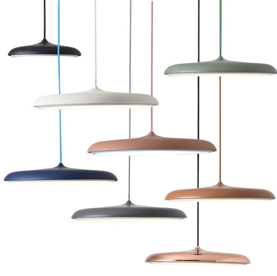 Moderne led pendentif lampe Art Design en métal fer suspension ufo Plaque Ronde lumières mobilier creative mince nordique suspendu salon