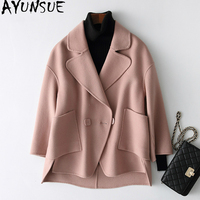 AYUNSUE Abrigos Mujer Invierno 2018 Double side Wool Coat Women Short Casual Wool Coat Female Spring Autumn Jacket 38066 WYQ1430