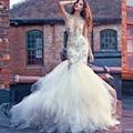 Luxo generoso Vestidos De noiva sereia 2016 Backless do vestido De casamento De Organza Skit Vestidos De noiva Vestidos De Novia