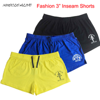 Gym Fitness Shorts Mens Bodybuilding Gym Workout 3 Inseam High Quality 100 Cotton Guarantee