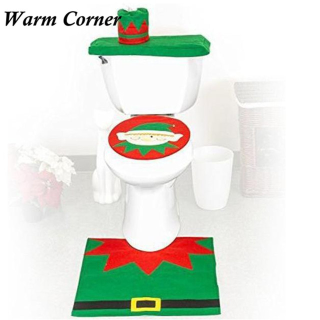 2017 New Arrival Christmas Decorations Happy Santa Toilet Seat Cover Rug Bathroom Set Snowman Free