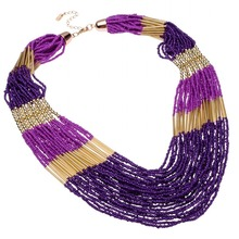 BK Multi Colors New Fashion Jewelry 30 Layers Resin Seed Beads Chain Choker Pendant Bib Necklace