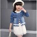 2016 New Robe Fillette Fashion Robe Princesse Enfant Two Piece Denim Coat+Girl Lace Dress Spring Party Kids Dresses
