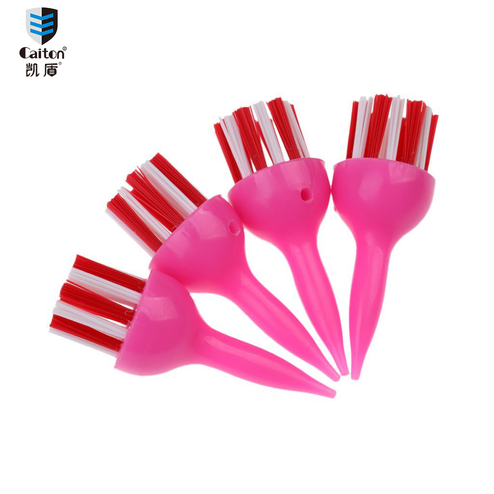 Caiton 4 Pieces/pack Durable Plastic & Nylon Golf Brush Tees 70mm Random Color