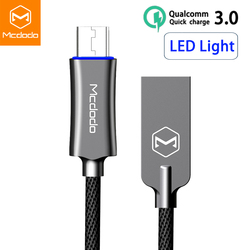 Mcdodo Micro USB Cable For samsung Xiaomi Huawei Fast Charging Auto Disconnect USB Data Cable with LED Microusb Charging Cable
