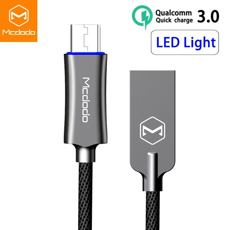 Mcdodo Micro USB Kabel Für samsung Xiaomi Huawei Schnelle Lade Auto Trennen USB Datenkabel mit LED Microusb Ladekabel