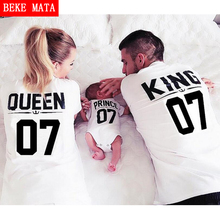BEKE MATA Family Matching Clothes 2017 Summer King Queen Matching Mother Daughter Father Son Baby T Shirts Family Look Clothing