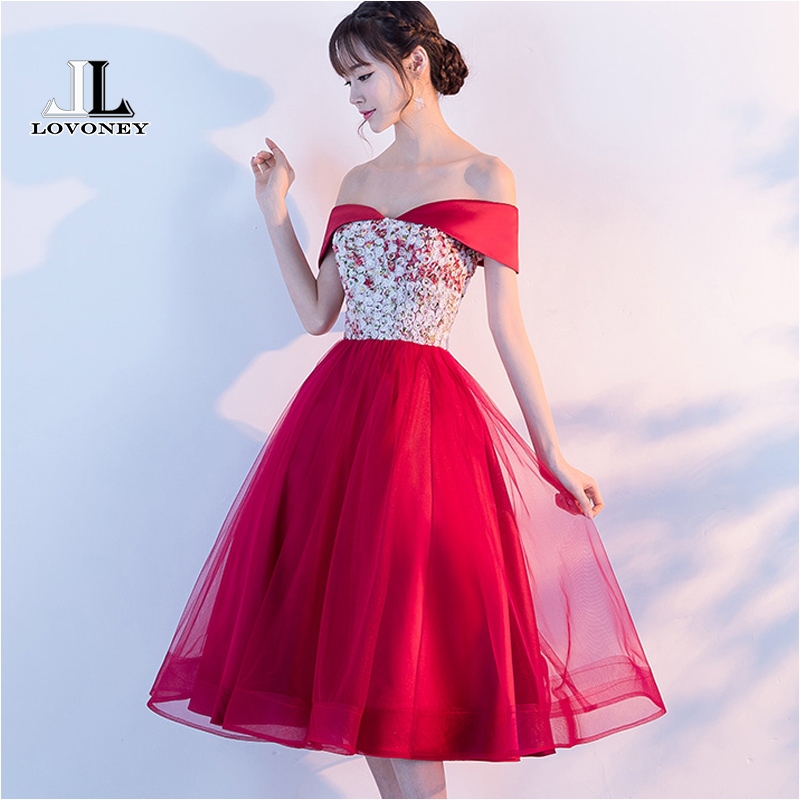 LOVONEY Cocktail Dresses 2019 New Arrival A-Line Short Red Prom Dresses Formal Party Dress Women Gown Vestido De Festa YLF802