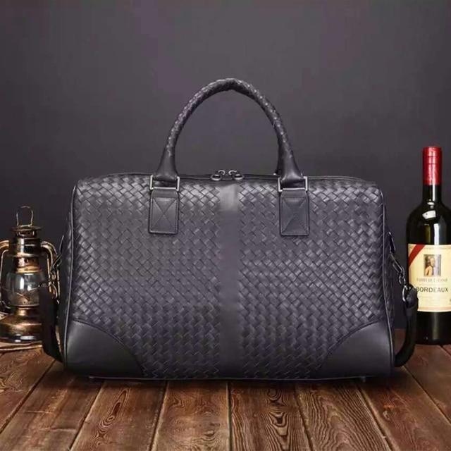 2016 New Calfskin Luxurious Weekender Bag Travel Totes Men Women Woven Exquisite Genuine Leather Handbag Shoulder Bag IS5016