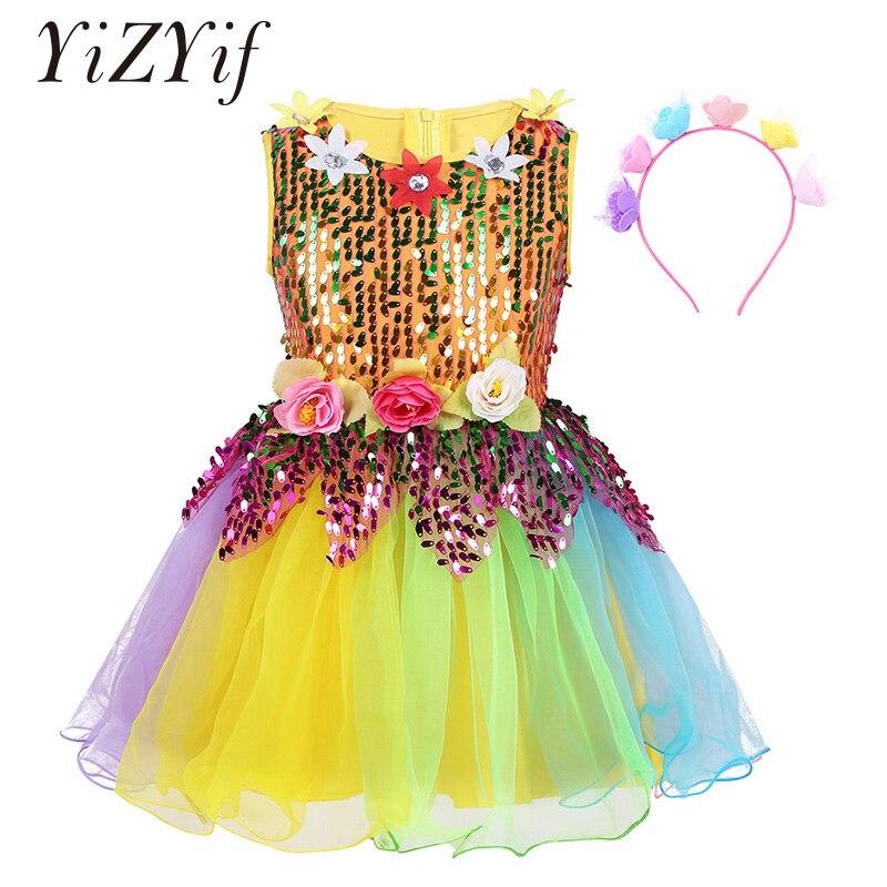 Girls Jazz Latin dance costumes Sequined Sleeveless Flower Rainbow Tulle Dress with Hair Hoop Set Girls Ballet Dress Dance Wear