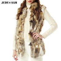 Women Natural Rabbit Fur Vest With Raccoon Fur Horn Button Thick Cotton Inside Lining Outwear Fashion
