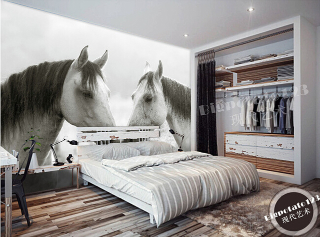 Custom 3D behang, twee zwart wit paard fotografie, woonkamer bank TV ...