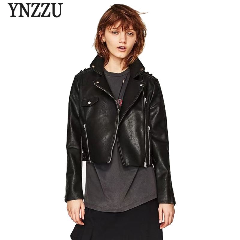 YNZZU New Women Faux   Leather   Jacket Black Slim Turn Down Collar Zipper Woman PU   Leather   Coat Streetwear High Quality YO338
