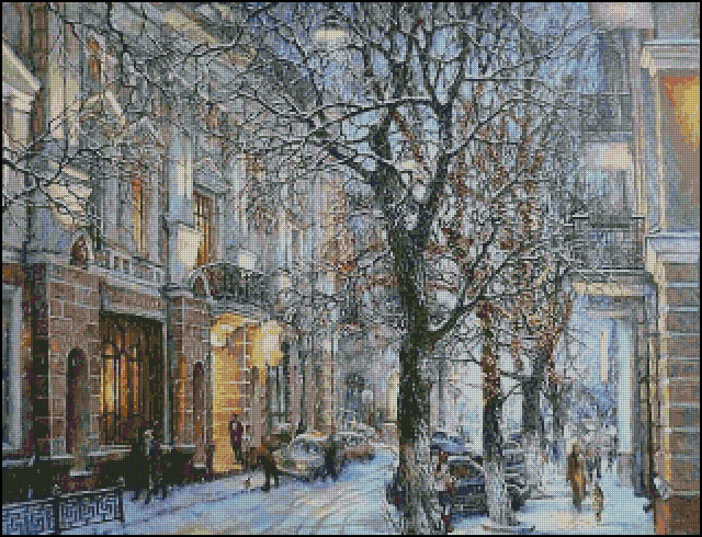 Top Quality 14CT Counted Unprinted Cross Stitch Kits Set Needlework Embroidery Decor Art The Winter Snow Scenery Bustling City