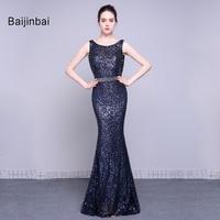 Baijinbai חדש נשים סקסיות השחור ארוך פאייטים שמלות ערב 2017 סקסית טנק שרוולים שמלת מסיבת בת ים Vestido De Festa 79021