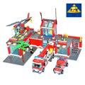 Nueva original kazi ciudad estación de bomberos 774 unids/set ladrillos de construcción bloques educativos juguetes compatible con leping ciudad bombero