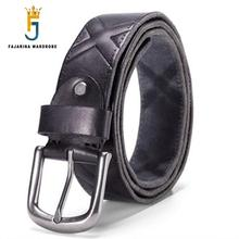 FAJARINA Top Quality Solid Cow Skin Leather Belt for Men Jeans Alloy Buckle Metal Unique Striped Retro Belt Style Jeans NHFJ22