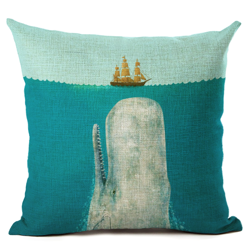 Fashion Nordic Style Marine Whale Cushion Cover Sea Whale Home Pillow Case Linen Pillows Covers Cojines Housse De Coussin