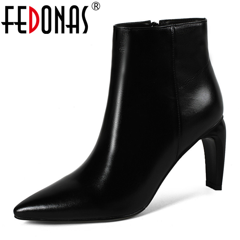 FEDONAS Basic Boots Women High Heels Zipper Genuine Leather Ankle Boots For Women Pointed Toe Wedding Party Shoes Woman Pumps fedonas high quality women genuine leather shoes woman high heels sexy pointed toe silver gold wedding party shoes female pumps