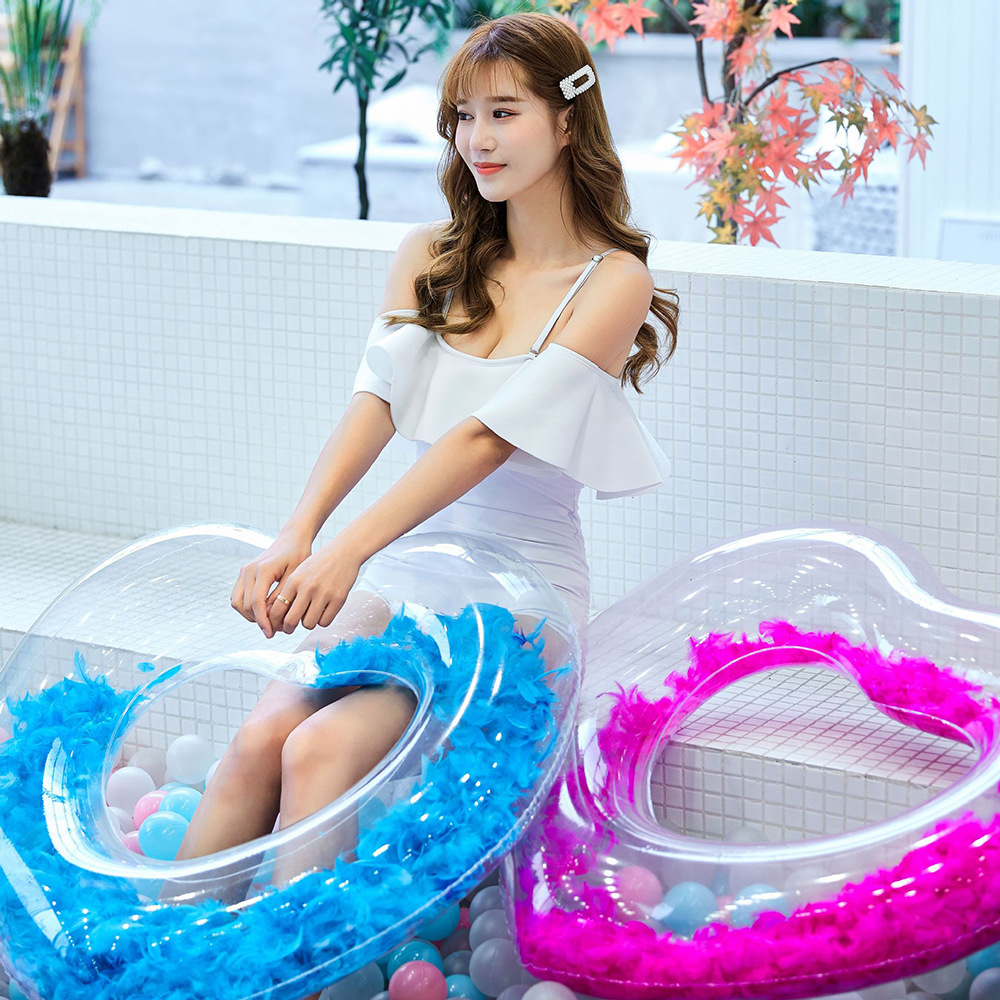 Water Products Environmental Protection PVC Creative Swimming Ring Adult Inflatable Feather Loving Pool Swimming Ring Piscina