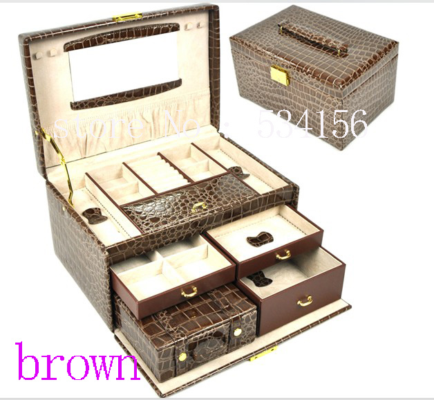 Free shipping  3 layers brown luxurious leather jewelry box earrings jewelry packaging display box  gift box (28.5 * 19 * 16 cm)Free shipping  3 layers brown luxurious leather jewelry box earrings jewelry packaging display box  gift box (28.5 * 19 * 16 cm)