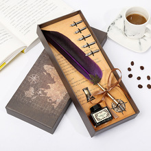 цена на Vintage Feather Pen Business Gift Set European Dip ink pens birthday gift Office Supplies Calligraphy Writing Fountain Pen Set