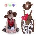Cowboy traje romper infantil do menino da criança do bebê conjunto roupa da menina 3 pcs chapéu + lenço + romper roupas de aniversário H573