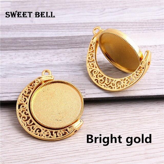 10 pièces 4 couleurs ajustement 25mm métal mélange à la mode Rond lune Rotation Double face Cabochon pendentif paramètres ajustement collier pendentif D7009