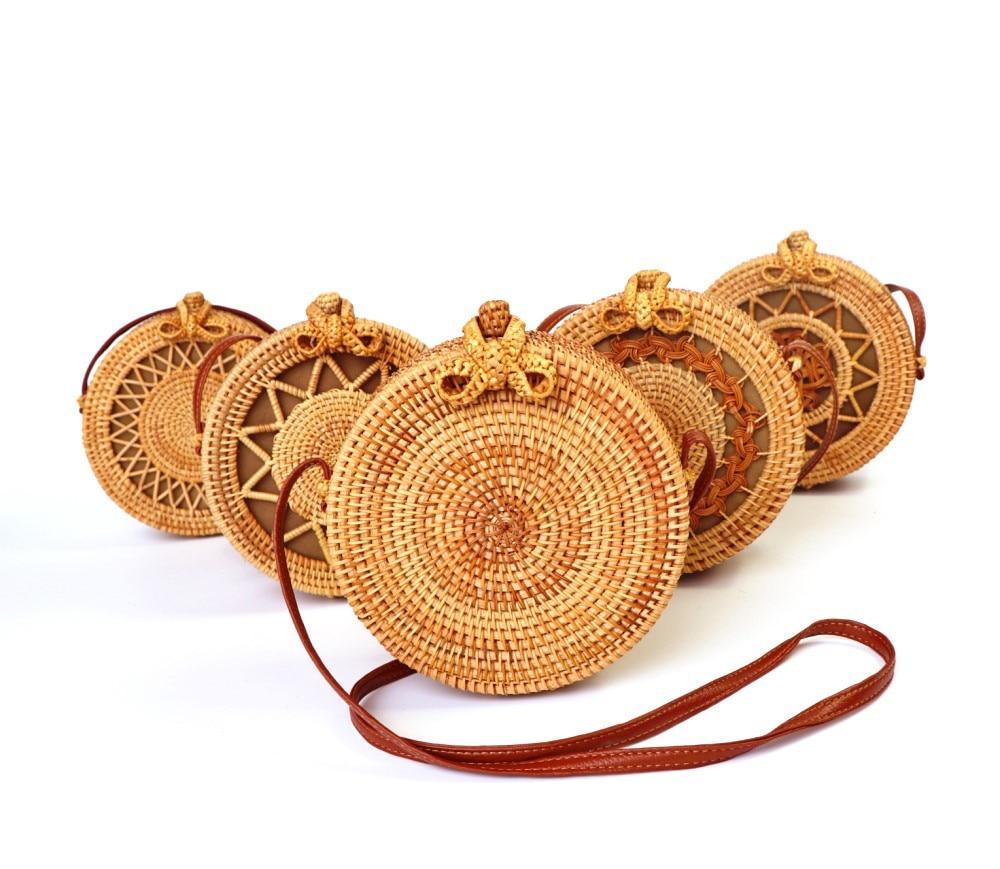 2019 Fashion Round Straw Bags Summer Women Handbags Bohemian Rattan Crossbody Bags Handmade Woven Beach Circular Bali Bag Bolsa