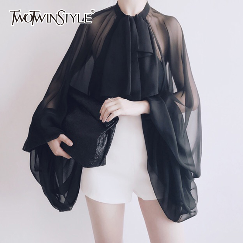 TWOTWINSTYLE Bowknot Chiffon Blouse Shirt Women Lantern Sleeve Tulle Transparent Sexy Tops Large Size 2019 Spring Summer Casual