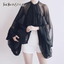 TWOTWINSTYLE Bowknot Chiffon Blouse Shirt Women Lantern Slee
