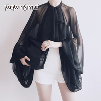 TWOTWINSTYLE Bowknot Chiffon Blouse Shirt Women Lantern Sleeve Tulle Transparent Sexy Tops Large Size 2018 Spring