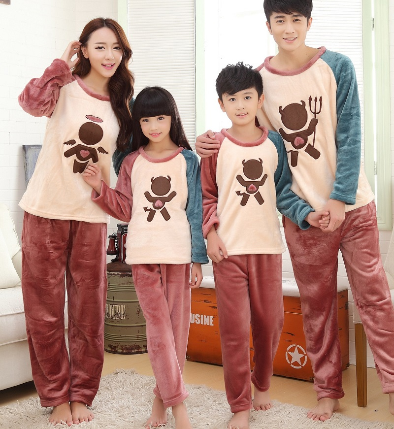 Aliexpress.com : Buy Thick Family Matching Pajamas Winter Autumn ...