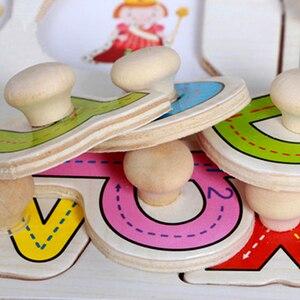 Image 4 - 30cm תינוק צעצועי עץ מונטסורי פאזל יד לתפוס לוח חינוכיים עץ פאזלים לילדים קריקטורה בעלי החיים רכב ילד מתנה