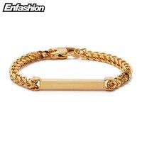 Enfashion Personalized Custom Engrave Name Bracelet Stainless Steel Flat Bar Cuff Bracelet Gold Color Charm Bracelets