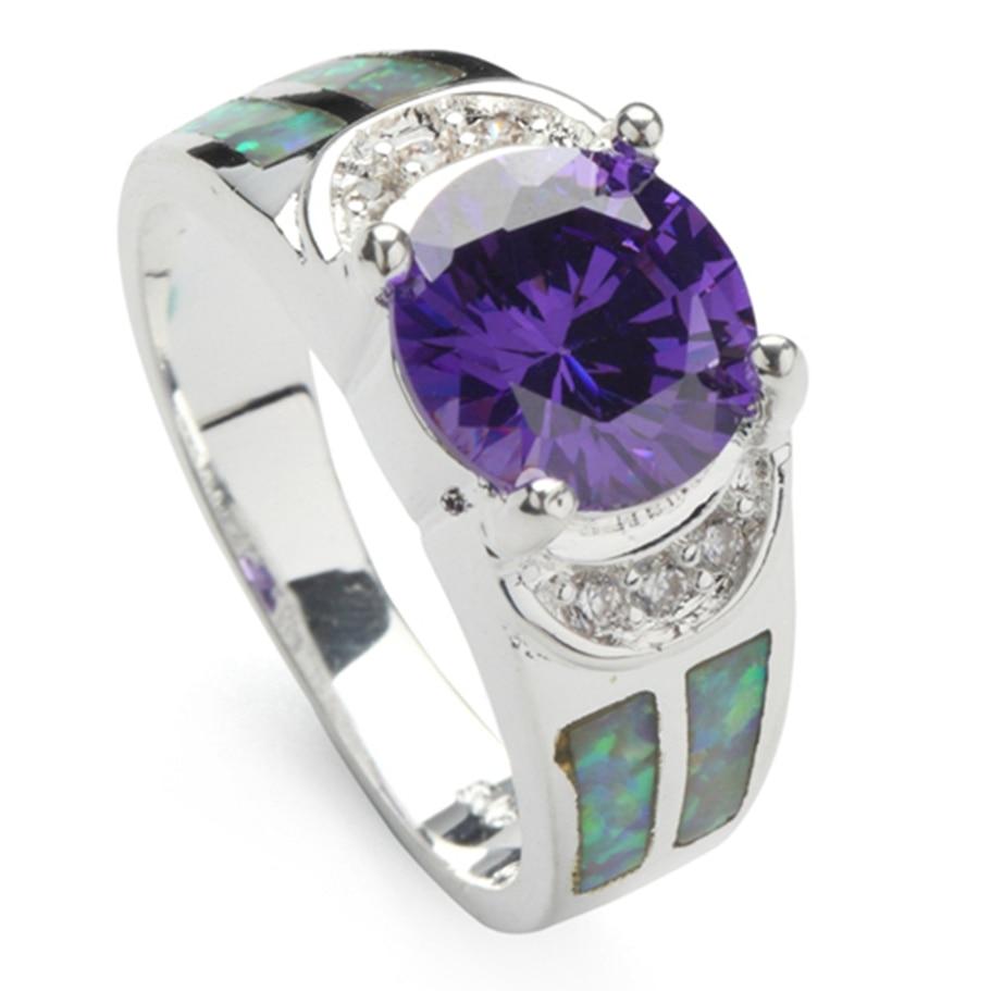 Bezel Setting Rhodium Plated Rings Purple Cubic Zirconia and white Peridot opal R178 Size #6 7 8 9 Noble Generous New pattern