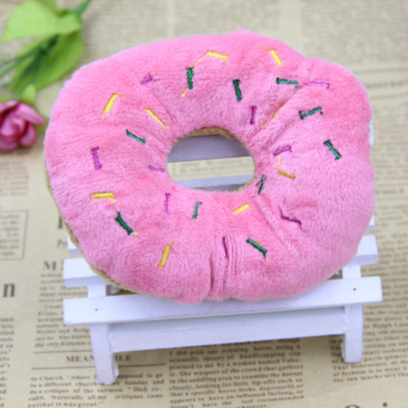 13Cm Sightly Pet Chew Cotton Donut Play Toys Lovely Pet Dog Puppy Cat Tugging Chew Squeaker Quack Sound Toy Chew Donut Play Toys in Dog Toys from Home Garden