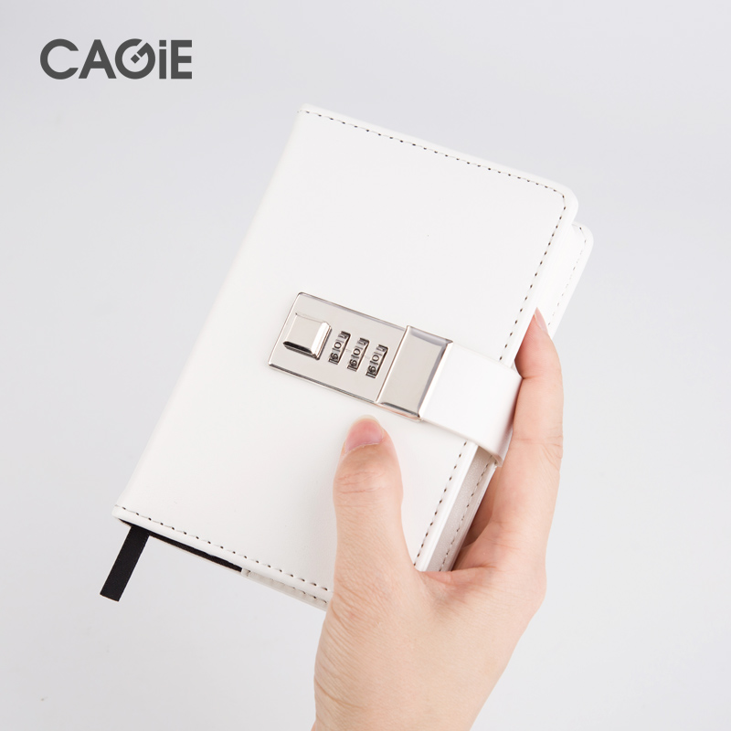 CAGIE Cute Black/White a7 Lock Notebook Mini Pocket Personal Diary With Lock Traveler Journals Leather Sketch Book Planners diary with lock cagie cute diary cloth cover a7 mini notebook lined pages paper notebooks personal journal beautiful notepad