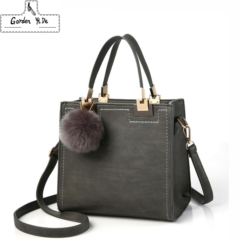 Hot Handbag Women Casual Tote Bag Female Large Shoulder Messenger Bags High Quality PU Leather Handbag With Fur Ball Sac a main pu high quality leather women handbag famouse brand shoulder bags for women messenger bag ladies crossbody female sac a main